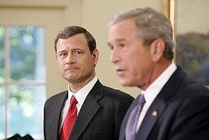 English: President George W. Bush announces fr...