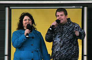 Ruth Jones and James Corden at a BBC Radio Wal...