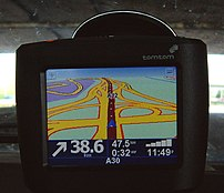 The TomTom One in-car navigation system.
