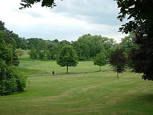 English: Walking the dog, Holywells Park Holyw...