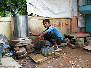 English: Wasim, a child labourer, works at a t...