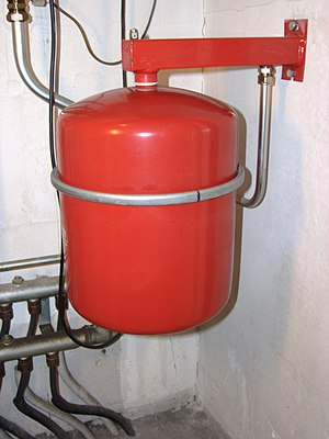 English: The expansion tank in a central heati...