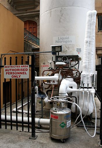 English: Liquid nitrogen storage facility at t...
