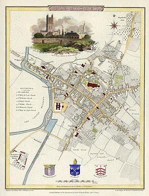 English: Street map of Gloucester