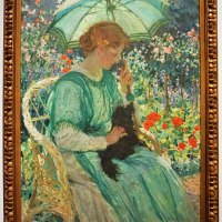 """The Green Parasol"" by E. Phillips Fox"