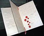 Documento original da primeira convenção de Genebra