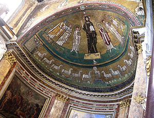 MOsaic in the absys of San Marco, Rome, showin...
