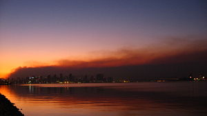San Diego skyline against the smoke at sunrise...