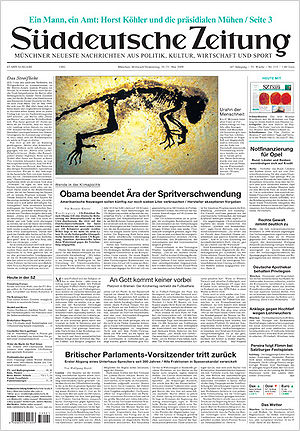 Front Page of the german Newspaper Süddeutsche...