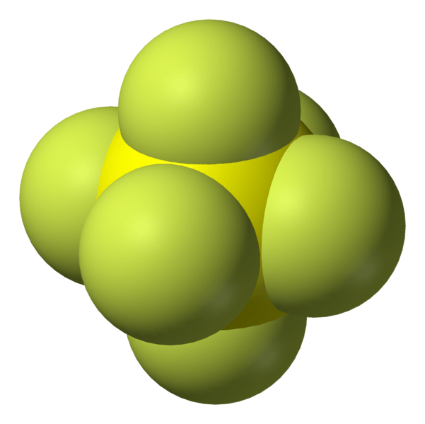 Orbitals model of sulfur hexafluoride (SF6) - Wikimedia image