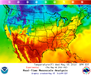 English: Temperatures in the USA, mesoscale an...
