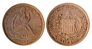 1861 Confederate States of American half dolla...