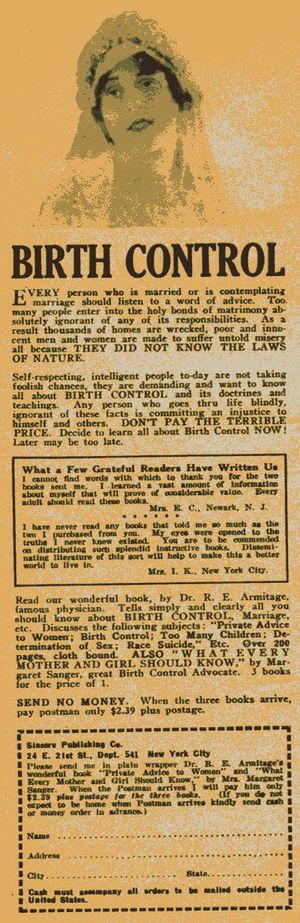 "1926 US advertisement. ""Birth Control"""