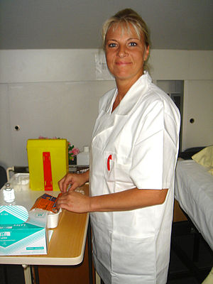 A nurse working in a nursing home.