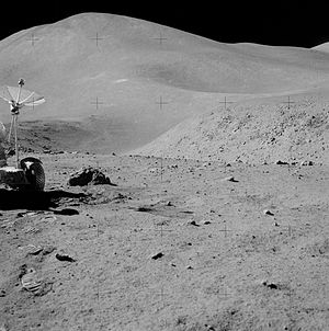English: Photo taken by Apollo 15 on the Moon,...