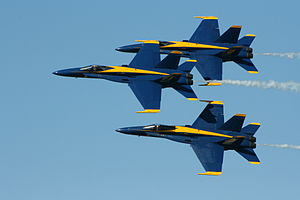 Photo of the US Navy Blue Angels during the Ai...