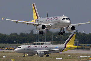 Two Airbus A319 of Germanwings at Stuttgart Ai...
