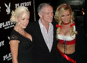 Hugh Hefner with his two girlfriends Kendra Wi...