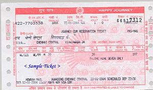 A sample Indian Railway ticket