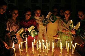 English: Celebration on midnight (Pakistan ind...