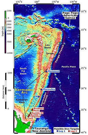 Map of Kermadec Arc north of the North Island ...