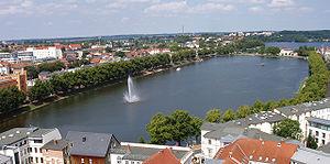 Lake Pfaffenteich in Schwerin (Germany)
