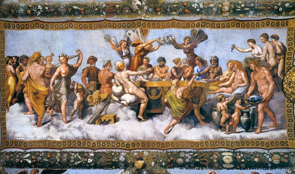The Wedding Banquet of Cupid and Psyche (1517) by Raphael ceiling fresco lively party scene