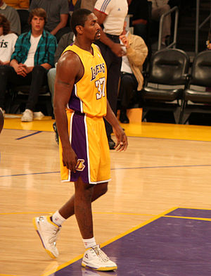 Ron Artest (far left), Kobe Bryant (center), J...
