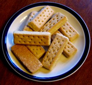 Scottish shortbread fingers.