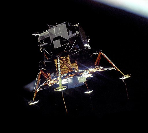 Apollo 11 Lunar Module Eagle in landing configuration in lunar orbit from the Command and Service Module Columbia