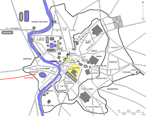 Français : Plan de Rome avec l'aqua Traiana en...