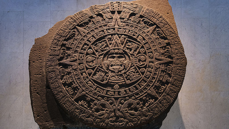 File:Aztec calendar stone in National Museum of Anthropology, Mexico City.jpg