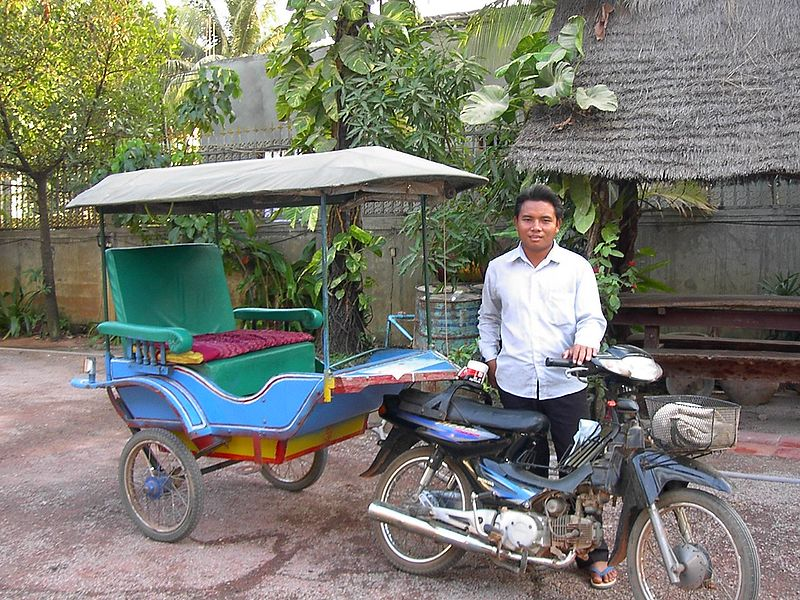Siem Reap tuk-tuks are generally of the style of motorcycle and trailer.