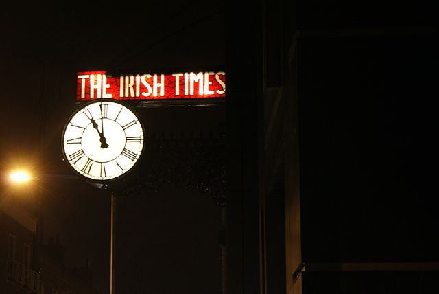 Irish Times clock on the new building at Towns...