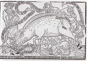 Woodcut from Kupferstichkabinet, Munich, ca. 1...