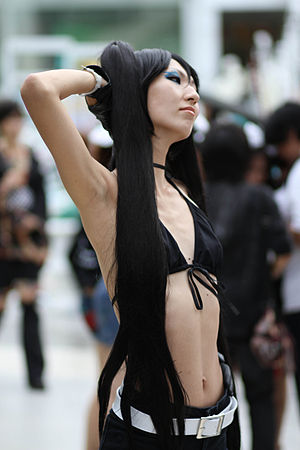 Woman with long black hair