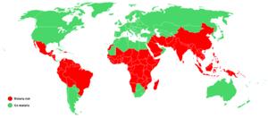 Global distribution of Malaria risk.