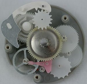 The gears from an egg timer, showing the Lever...