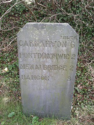 Slate milestone near Bangor, Wales