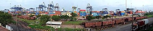 a view of chennai port/madras port from the royapuram bridge
