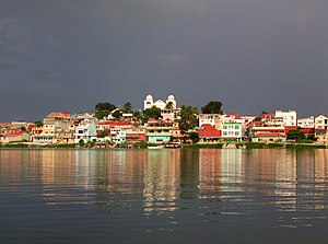 View of Flores from Peten Itza lake,Petén,Guat...