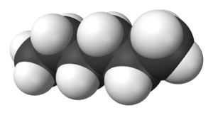 Space-filling model of the hexane molecule