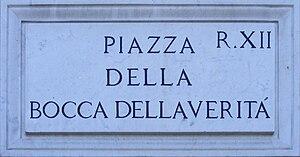 Piazza della Bocca della Verità - Street sign ...
