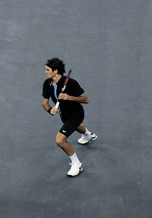 Roger Federer against Andy Murray at the 2008 ...