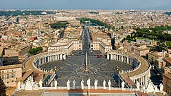 View of St. Peter's Square from the top of Michelangelo's dome.