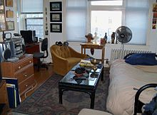 The Main Room Of A Studio Apartment In Minneapolis Minnesota United States Sofabed Is To Right And Small Alcove On Left