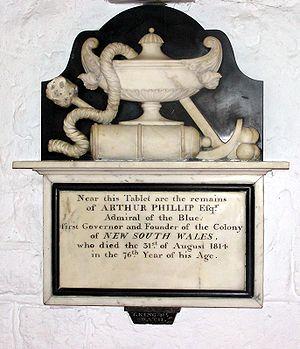 Memorial in St Nicholas Church to Arthur Phill...