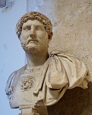 Bust of Emperor Hadrian in armor. Marble, Hadr...