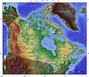 A topographic map of Canada, showing elevation...