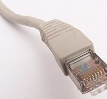 A standard RJ45 Ethernet connector.
